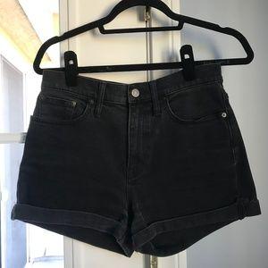Madewell Faded Black Shorts Folded with Raw-Hem
